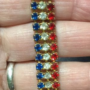 Patriotic Red White and Blue Rhinestone Bracelet